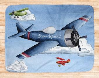 Vintage Airplane Baby Blanket Navy Airplane Blanket Minky Plane Nursery Theme Vintage Plane Nursery Aircraft Baby Blanket Navy Blue Turkey