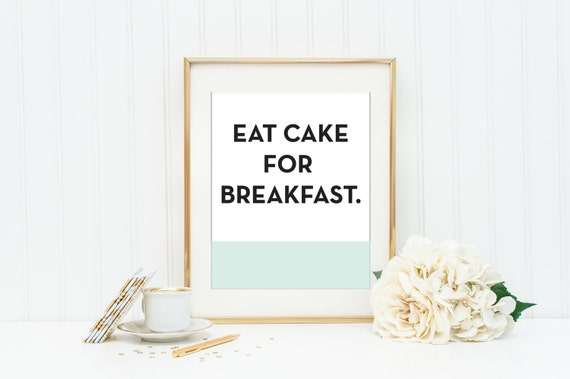 Kate Spade Eat Cake for Breakfast Mint and Coral Wall Art | Etsy
