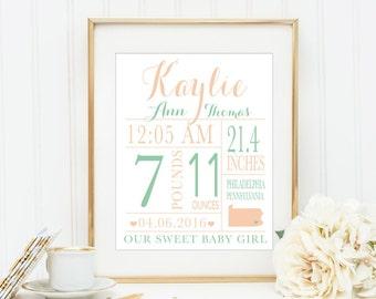 CUSTOM Baby Birth Stat Baby Birth Announcement Print Nursery Wall Art Baby Girl Nursery Print Coral and Mint Nursery Gold Nursery