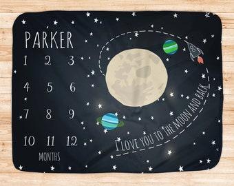 Space Milestone Blanket, Growth Tracker Outerspace, Baby Newborn gift, Baby Milestone Blanket, Watch Me Grow Blanket, Solar System,Moon Star