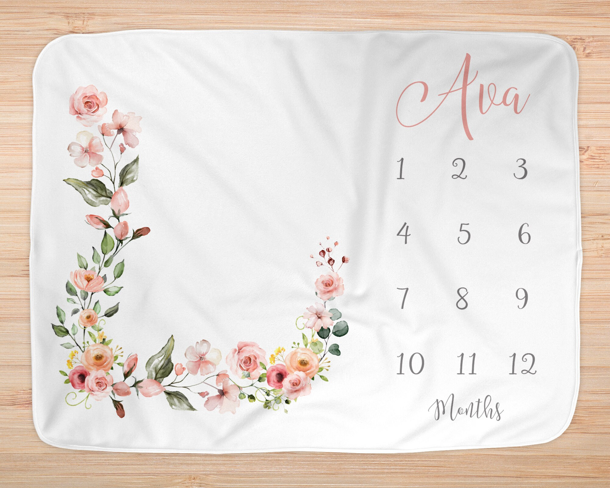 Baby Shower Blanket Milestone Blanket Monthly Growth Tracker Name Blanket Baby Blanket Gift Personalized Blanket New Mom Gift