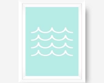 Blue Wave Print, Digital Print, Ocean Wall Art, Beach Print, Wave Wall Art, Blue Wall Art, Home Decor, Summer Wall Art