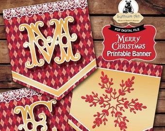 CHRISTMAS Banner, Christmas Garland, Instant Download, DIY Banner, Christmas Printables, Christmas Decorations, Merry Christmas, Christmas