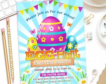 EGG HUNT Invitation, Easter Egg Hunt Invite, Egg Hunt Party Invitation, Easter Egg Hunt Invitation, Easter Invitation, Spring,Printable File