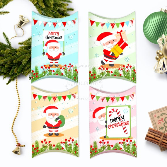 Christmas Gift Box Template.Christmas Boxes Christmas Printable Boxes Pillow Boxes Template Christmas Packaging Cute Santa Gift Box Xmas Gifts Instant Download