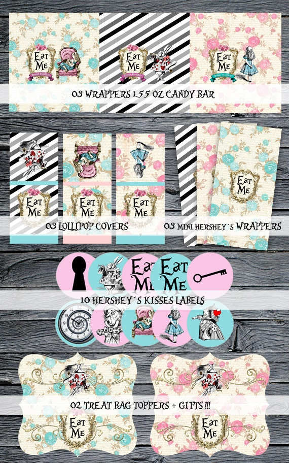 Alice in Wonderland Candy Wrappers