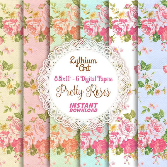 Pretty Roses Digital Paper Vintage Paper Floral Paper Scrapbook Paper Old Fashioned Paper Shabby Paper 8 5x11 By Lythium Art Catch My Party