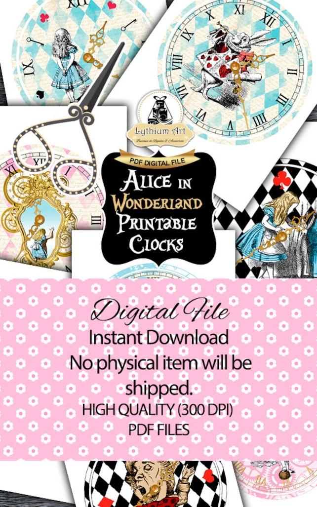 Alice In Wonderland Clocks Printable Clock Vintage Alice Alice In