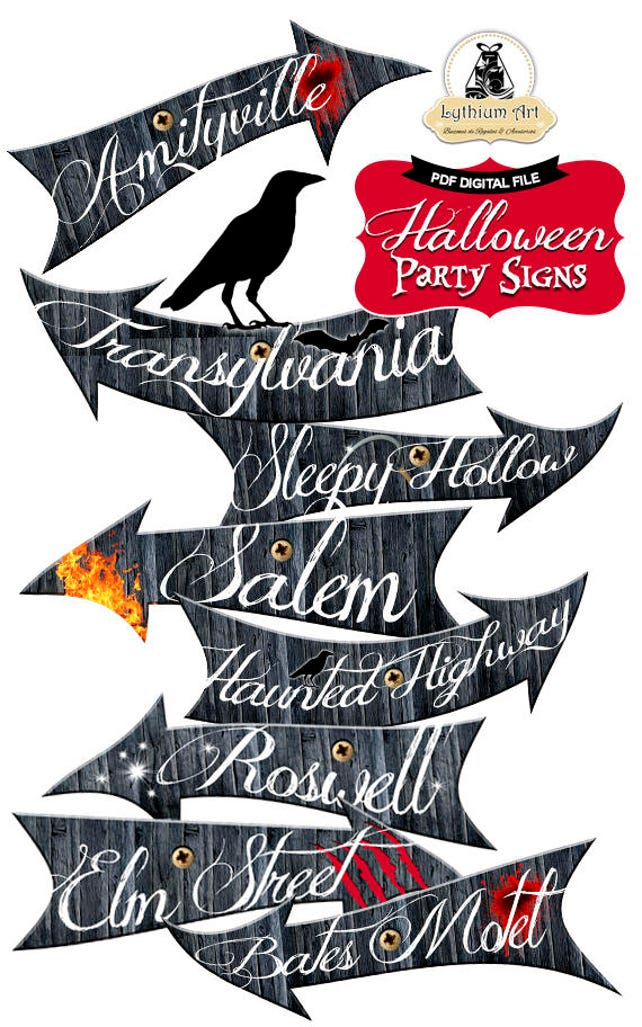 graphic about Halloween Signs Printable named HALLOWEEN Indications, Halloween Decorations, Halloween Get together