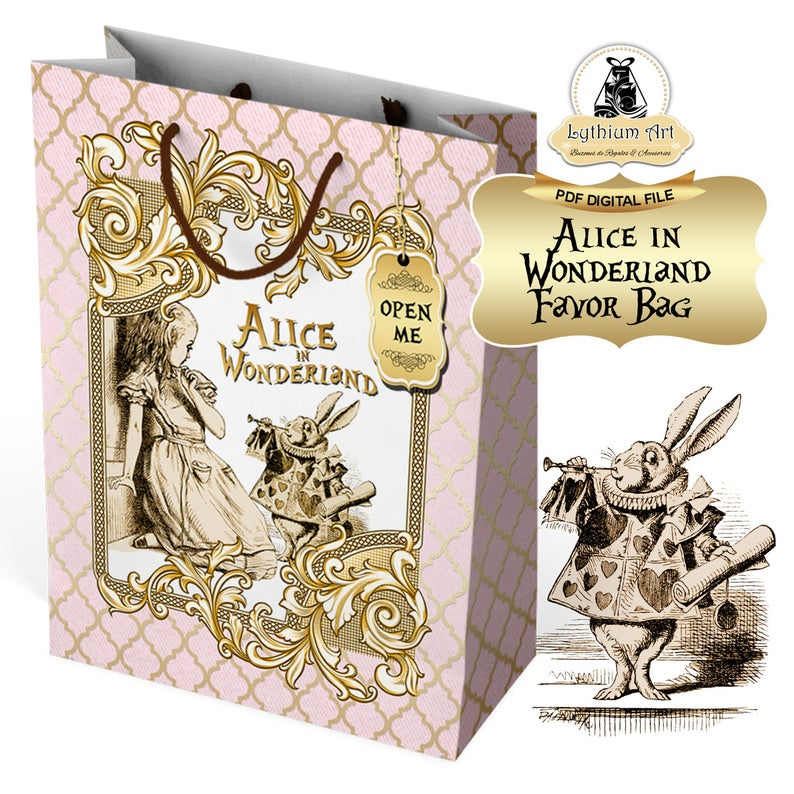 Alice Decorations Alice Gift Bag Alice in Wonderland Bag Alice Party Bag Alice Party Favors Alice Birthday Party Instant Download