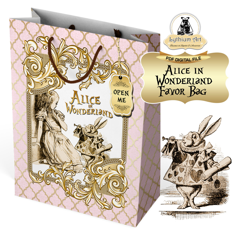 Alice In Wonderland Bag Instant Download Alice Decorations Etsy