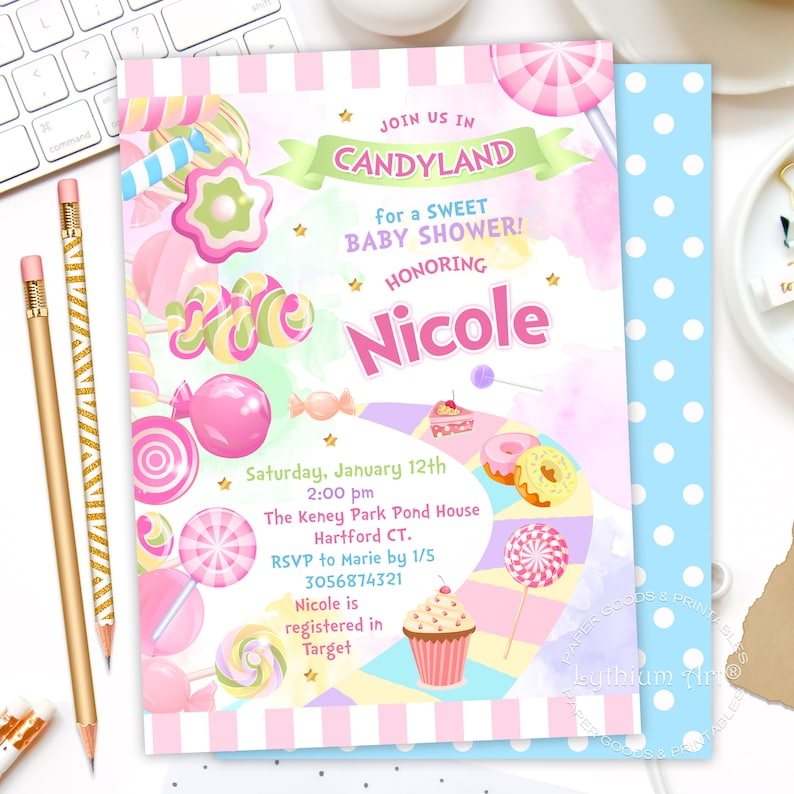 photo regarding Candyland Letters Printable identified as CANDYLAND Little one Shower Invitation, Sweet Land Bash Invitation, Sweets Social gathering Invitation, Candyland Invitation, Walkway, Sweet Electronic Document