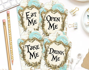 Alice In Wonderland Tags, Alice Tags, Alice Gift Tags, Wonderland Gift Tags, INSTANT DOWNLOAD, Alice Party, Tea Party, Drink Me, Eat Me Tags