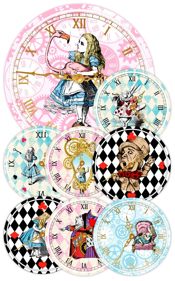 graphic relating to Printable Decorations identify ALICE Within WONDERLAND Clocks, Printable Clock, Classic Alice, Alice inside Wonderland Occasion, Alice in just Wonderland Decorations, Birthday Bash Decor