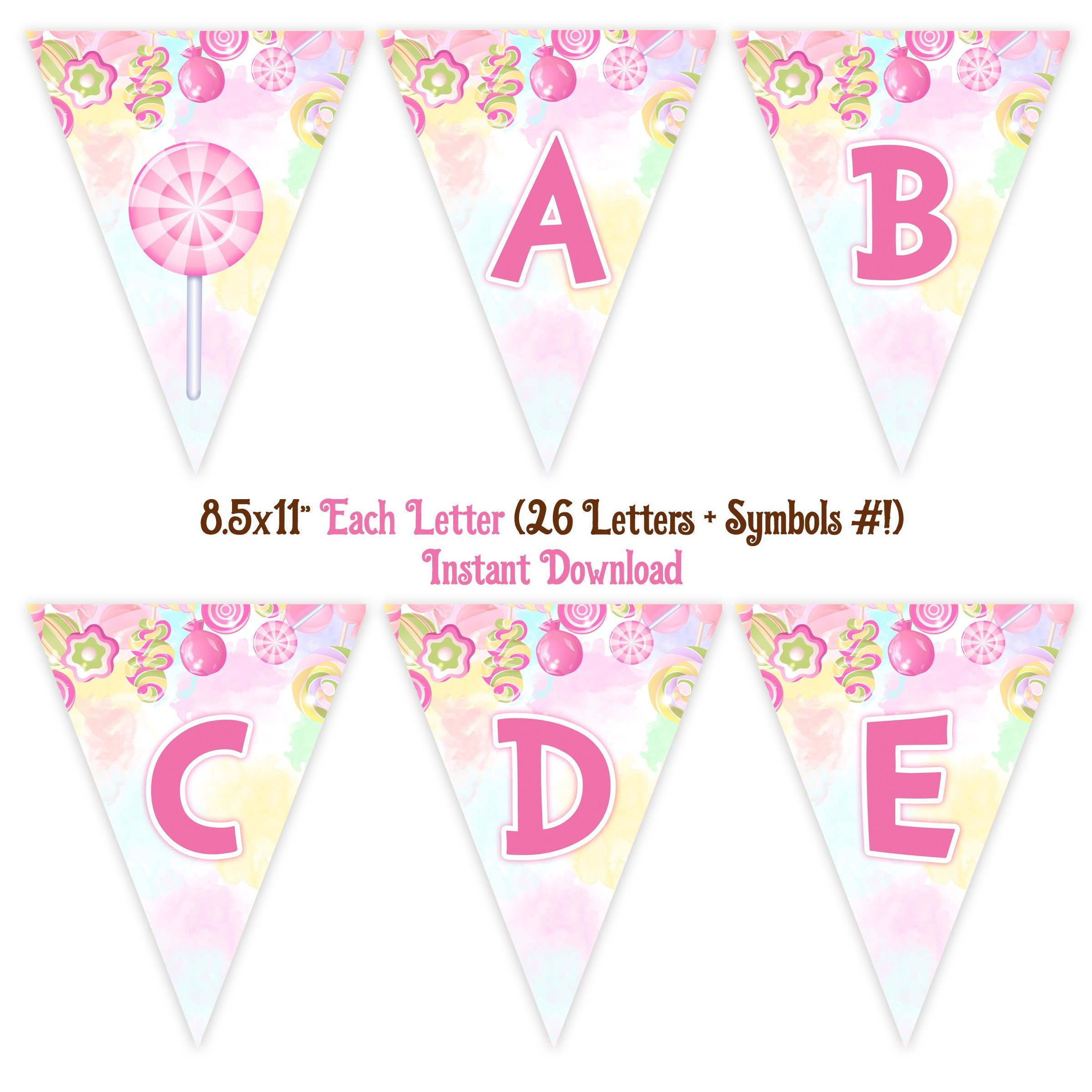 graphic about Candyland Letters Printable known as Candyland Banner, Immediate Down load, 8.5x11\
