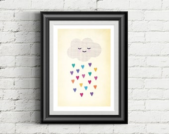 Cute Cloud Nursery Giclee Art Print, Rainbow Hearts, Weather Art, Nursery Wall Art