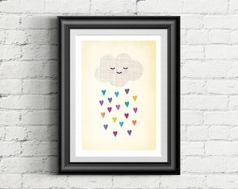 Cute Cloud Nursery Giclee Art Print, Rainbow Hearts, Weather Art, Nursery Wall Art