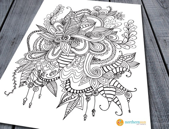 Doodle Adult Colouring Page Printable Colouring Pages Zen   Etsy