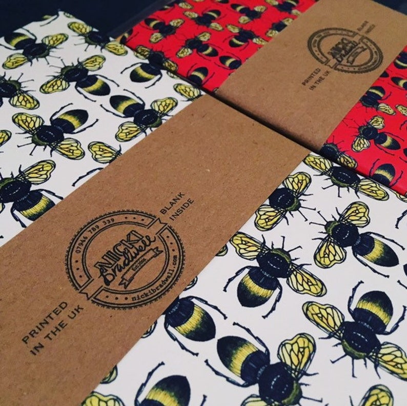 A5 White Bee repeat pattern notebook wildlife jotter image 0