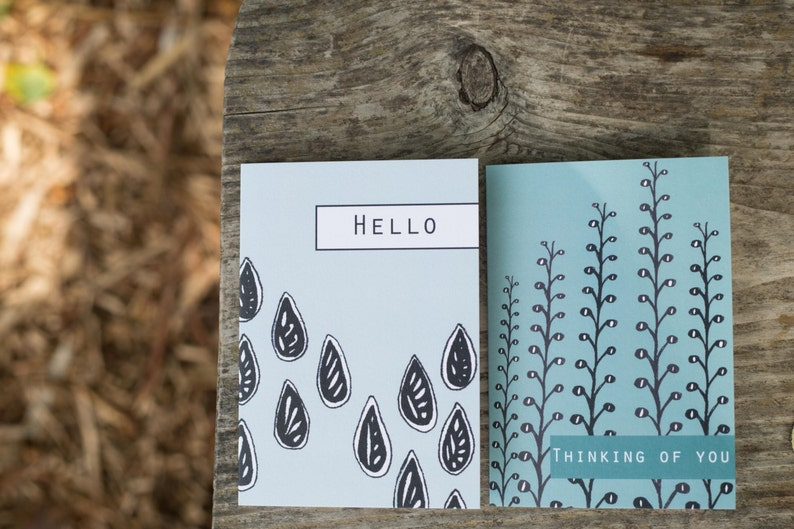 Blue Hello and Thinking of You Blank Greeting Cards image 0