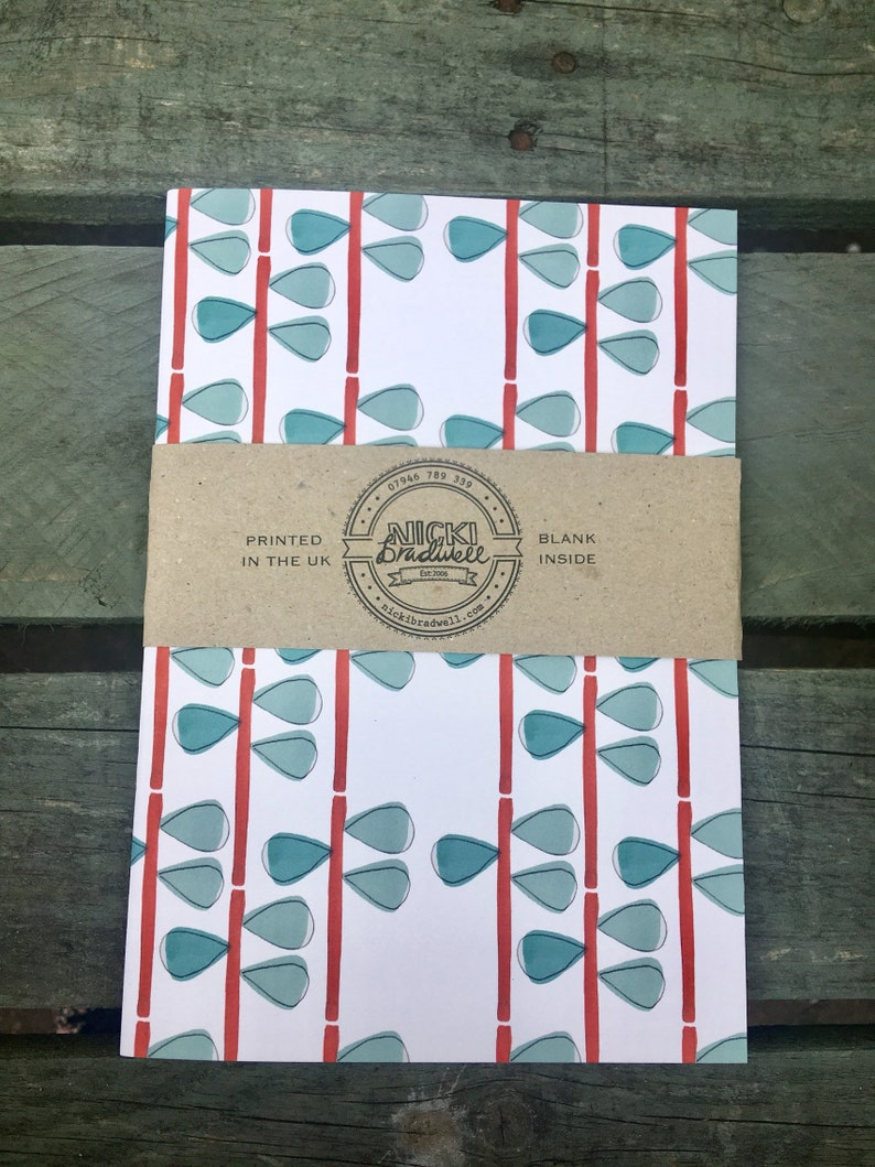 A5 Leaf and Line repeat pattern notebook image 0