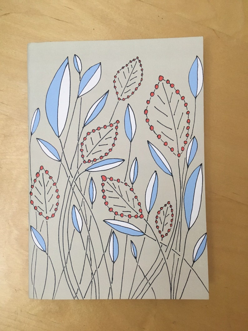 A5 Wildflower Beige and Blue Notebook image 0