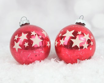 vintage shiny brite mercury glass red christmas ornaments stencil stars 1950s christmas decorations