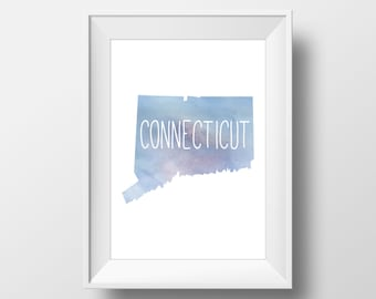 Connecticut State Blue Watercolor Printable Art, Connecticut Print, Connecticut Art, Modern Art,