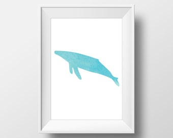 Whale Teal Watercolor Print, Whale Print, Watercolor Whale Print, Whale Wall Art, Beach Decor, Nursery Decor, Coastal Art, Teal Watercolor