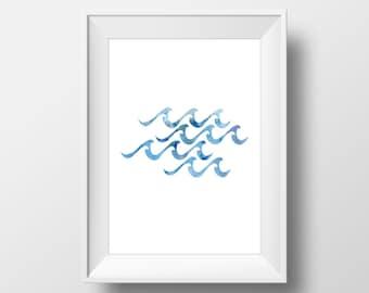 Blue Waves Watercolor Print, Wave Art, Waves Print, Ocean Art, Beach Decor, Nursery Decor, Minamalist Art, Blue Watercolor