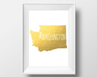 Washington State Gold Foil Printable Art, Washington Print, Washington, Modern Art,