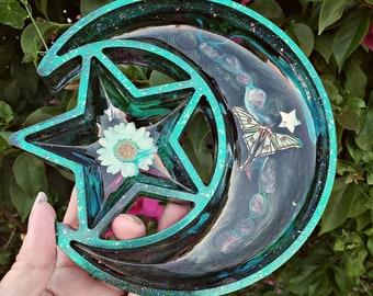 Gold Black Glitter Crystal Star Tray Dish Jewelry Holder Magic Wicca Wiccan Mystical Mystic
