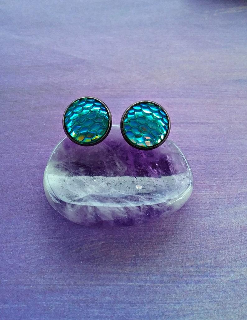 dragon scales earrings beach earrings Mermaid studs scales studs