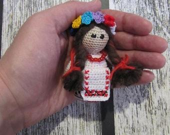 Ukrainian small doll Keychain bag charm national doll handmade souvenir folk art doll traditions outfit miniature doll crochet tiny doll