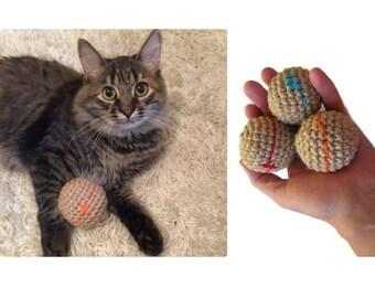 Catnip toy play ball jute crochet pet cat toy hemp