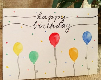 Happy Birthday card // ready to ship // original watercolor // handmade cards