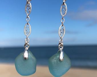 Sea Glass Earrings, Aqua Sea Glass, Sterling Silver Earrings, Japanese Sea Glass