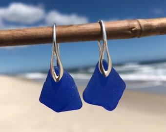 Sea Glass Earrings, Blue Sea Glass, Sterling Silver Earrings, Sea Glass Jewelry