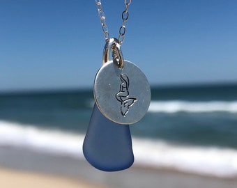 Sea Glass Necklace, Sterling Silver Necklace, Seaglass Jewelry, Mermaid Coin Charm, Aqua Sea Glass, Seaham Sea Glass, Bridesmaids gifts