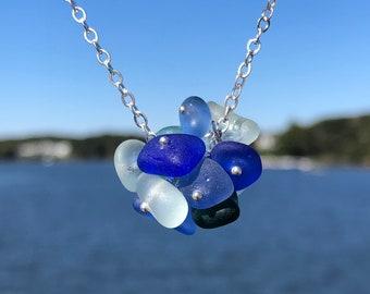 Sea Glass Necklace, Sea Glass Jewelry,  Sterling Silver Necklace , Seaham Sea Glass, Organic sea glass drop necklace, Sea glass, Beach Glass
