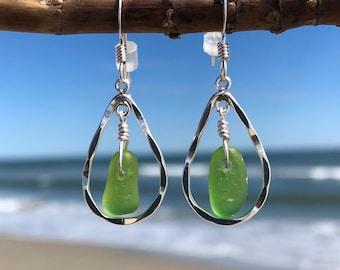 Sea Glass Earrings, Sterling Silver Earrings, Sterling Silver Hoop Earrings, Sea Glass Jewelry, Beach Glass Earrings, Bridesmaid Gift