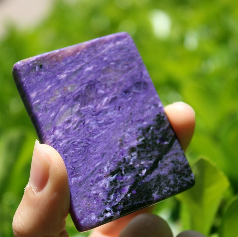 2.50 x 1.90 x 0.29 Charoite with Aegirine Polished Slice from Russia Weight 53 grams.