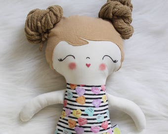Great for Easter Baskets and Birthday Dolls! Sweet Treats SweetHearts Girl Doll Plushie. Gifts for Girls. Design Your Own Plushie!