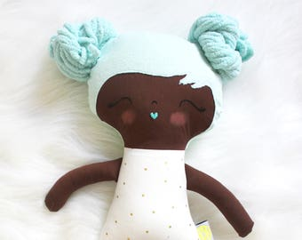 Great for Easter Baskets and Birthday Dolls! Sweet Treats Gold Dots Teal Hair Girl Doll Plushie. Gifts for Girls. Design Your Own Plushie!