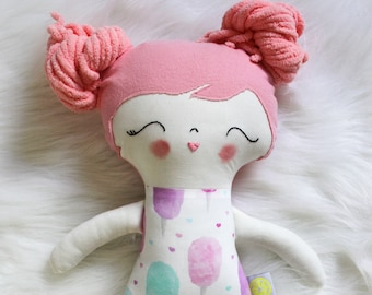 Great for Easter Basket and Birthday Dolls! Sweet Treats Cotton Candy Pink Hair Girl Doll Plushie. Gifts for Girls. Design Your Own Plushie!