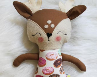 Great for Easter Baskets and Birthday Dolls! Sweet Treats Donut Deer Animal Plushie. Design Your Own Plushie! Gifts for Girls.