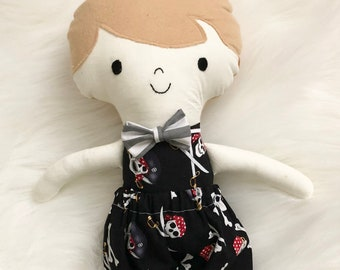 """Skulls and Crossbones 15"""" Tall Boy Doll Gifts for Boys. Customizable Dress Up Cloth Rag Doll. Gifts for Kids. Nursery Decor. Baby Boy Gifts."""