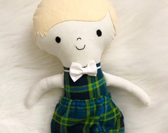 """Blue and Green Stripe 15"""" Tall Boy Doll Gifts for Boys. Customizable Dress Up Cloth Rag Doll. Gifts for Kids. Nursery Decor. Baby Boy Gifts."""