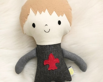 """Knight in Armor 15"""" Tall Boy Doll Gifts for Boys. Customizable Dress Up Cloth Rag Doll. Gifts for Kids. Nursery Decor. Baby Boy Gifts."""