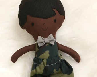 """Army Boy 15"""" Tall Boy Doll Gifts for Boys. Customizable Dress Up Cloth Rag Doll. Gifts for Kids. Nursery Decor. Baby Boy Gifts."""